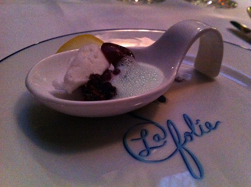 Sorbet and foam amuse bouche