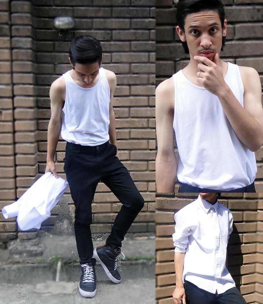 felipe-vidotto-boy-man-model-black-pants -fashion-man-pretty-lovely-shoes-casual-lookbook-shirt-t-shit -black-and-white-regatta-leather
