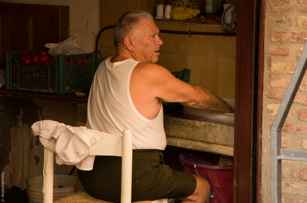 Italy, Old Man Working in Repair Shop