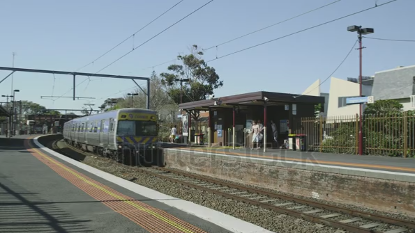 Stock footage: Connex train at Brighton Beach