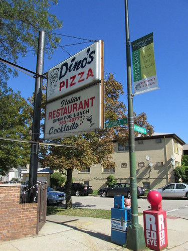 The Dino's Pizza sign.  Chicago Illinois.  Early October 2013. by Eddie from Chicago