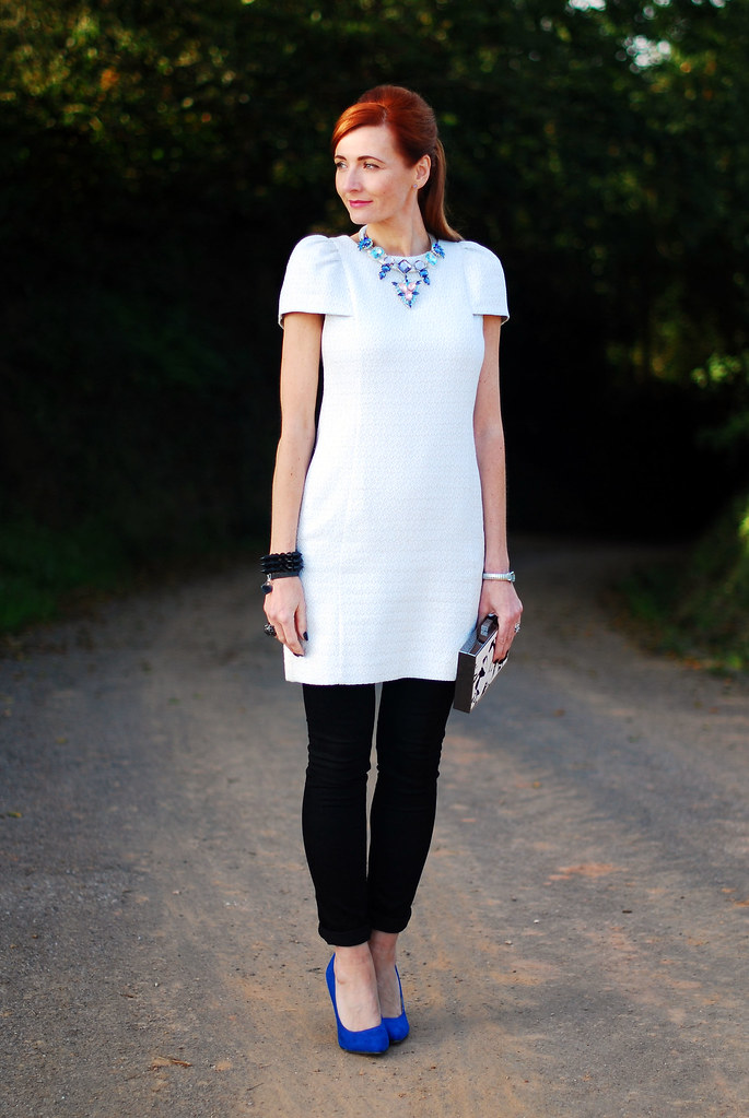 Pale blue dress over black skinnies