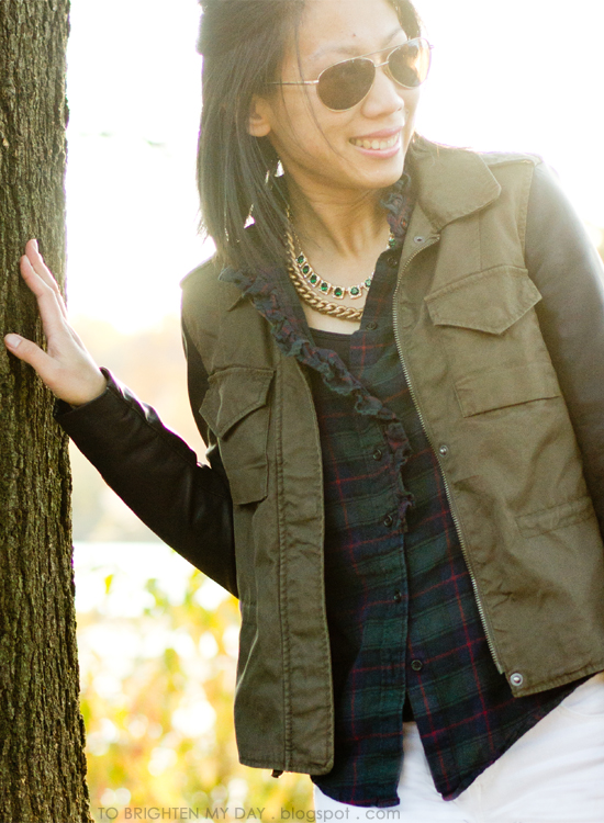 plaid shirt, faux leather military jacket, white jeans, brown loafers