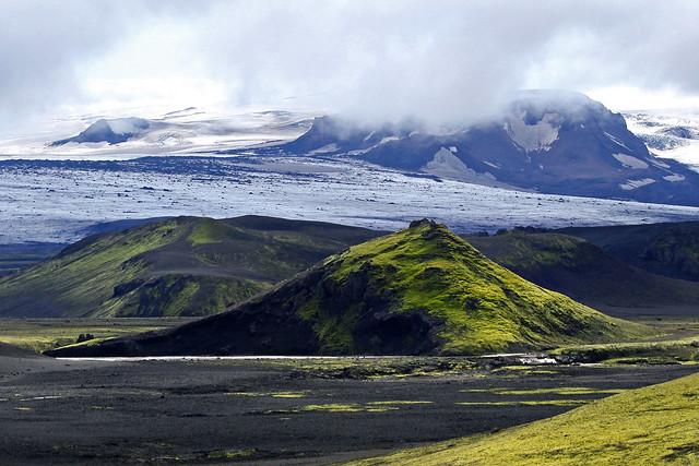 Glaciares cerca de Landmannalaugar. Las Tierras Altas de Islandia