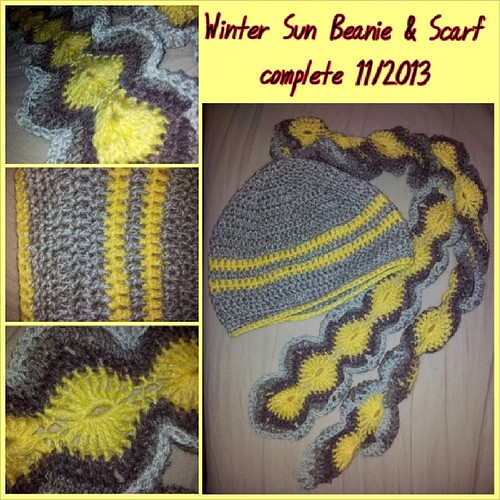 Winter sun crochet beanie and scarf set. The beanie is worked double strand, standard hat pattern. The scarf is yellow yo-yo stitches with edging in shades of grey and was made so that it curls around on itself. Self designed crochet. #handmade #crochet #