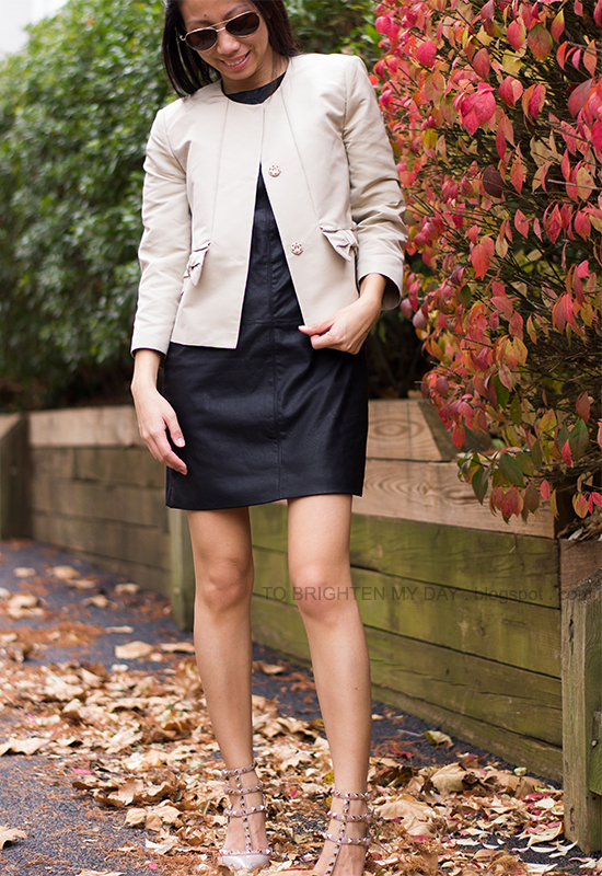 bow swing jacket, faux leather dress, studded heels