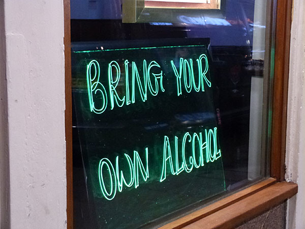 bring your own alcohol