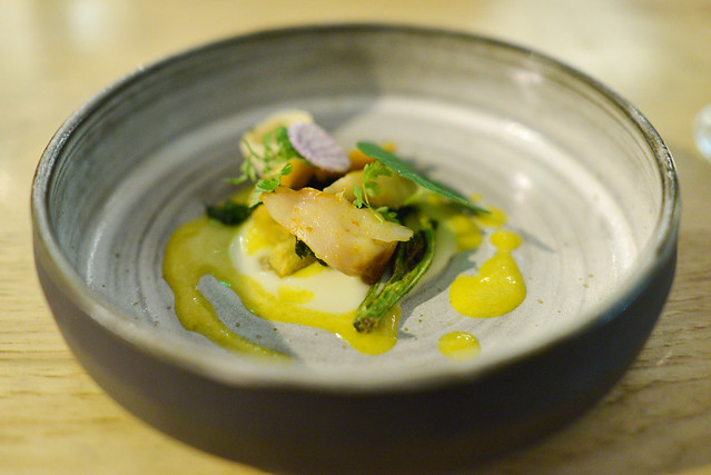 smoked sablefish, potato, lardo, sprouting broccoli, daikon radish, citrus vinaigrette