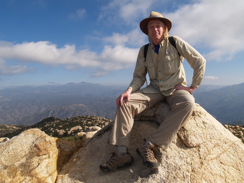 Me sitting on the comfy summit block of El Cajon Mountain