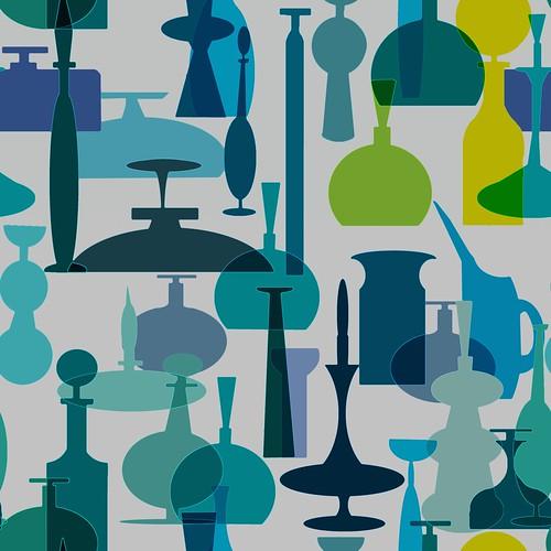 Blue Blenko Glass Wallpaper Pattern
