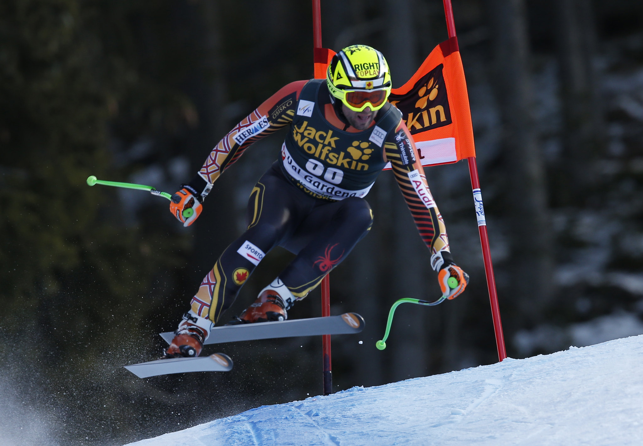 Manuel Osborne-Paradis flies around a gate during the downhill in ValGardena, ITA