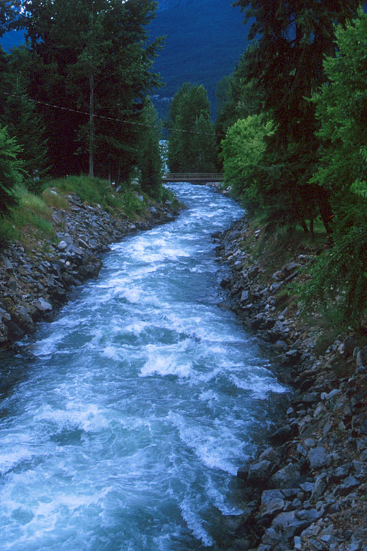 Silverton Creek in Silverton on Slocan Lake, Slocan Valley, Kootenay Rockies, British Columbia, Canada