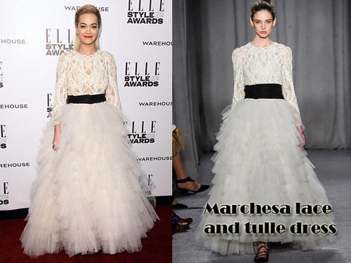 Marchesa lace and tulle dress