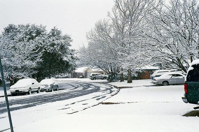 Neighborhood Snow Scene Photo Taken During The 2004