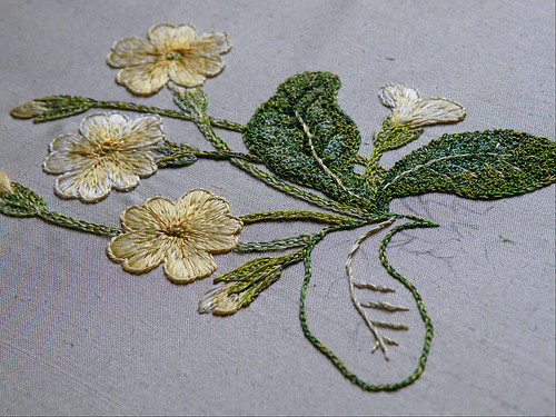 Primrose in silk, 6 - leaves continued