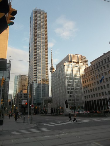 Looking south at the CN Tower and the Shangri-La Toronto