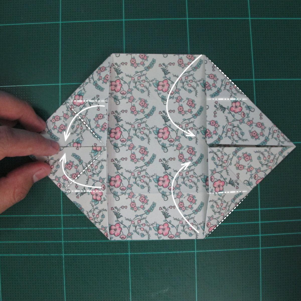 วิธีพับกระดาษรูปหัวใจคู่ (Origami Double Heart)  014
