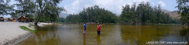 Panoramic shot of the freshwater river at Anawangin Cove