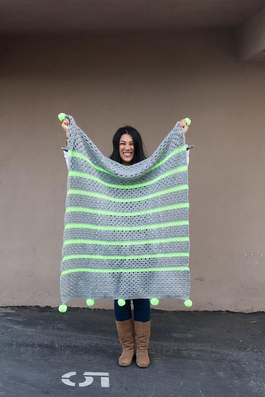 grey and neon yellow stripe blanket