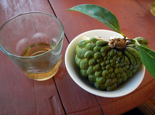Custard Apple & Tea at a Temple on Our Inle Lake Bike Trip