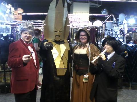 Two Doctors Who, Omega, and me. Please pardon the crappy mobile phone picture. I am getting a proper camera soon.