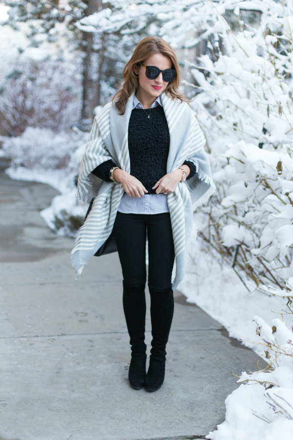 Blanket scarf + layers