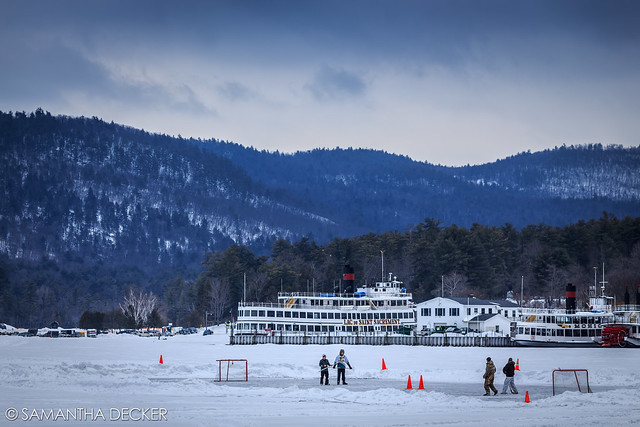A Hockey Match on Lake George