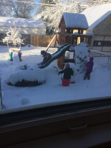 outside snow play