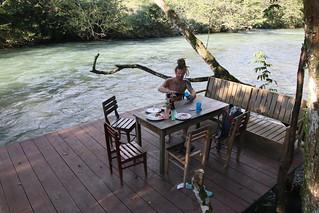 Riverside Dining.  El Retiro.  Lanquin, Guatemala.
