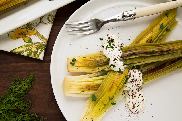 braised leeks with dill sauce and sumac