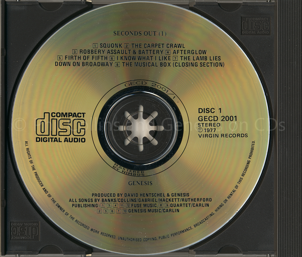Genesis Seconds Out 1977 Virgin Charisma Gecd 2001 First Fuse Box Disc One