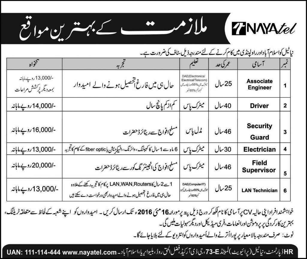 Nayatel Pakistan Career Opportunities