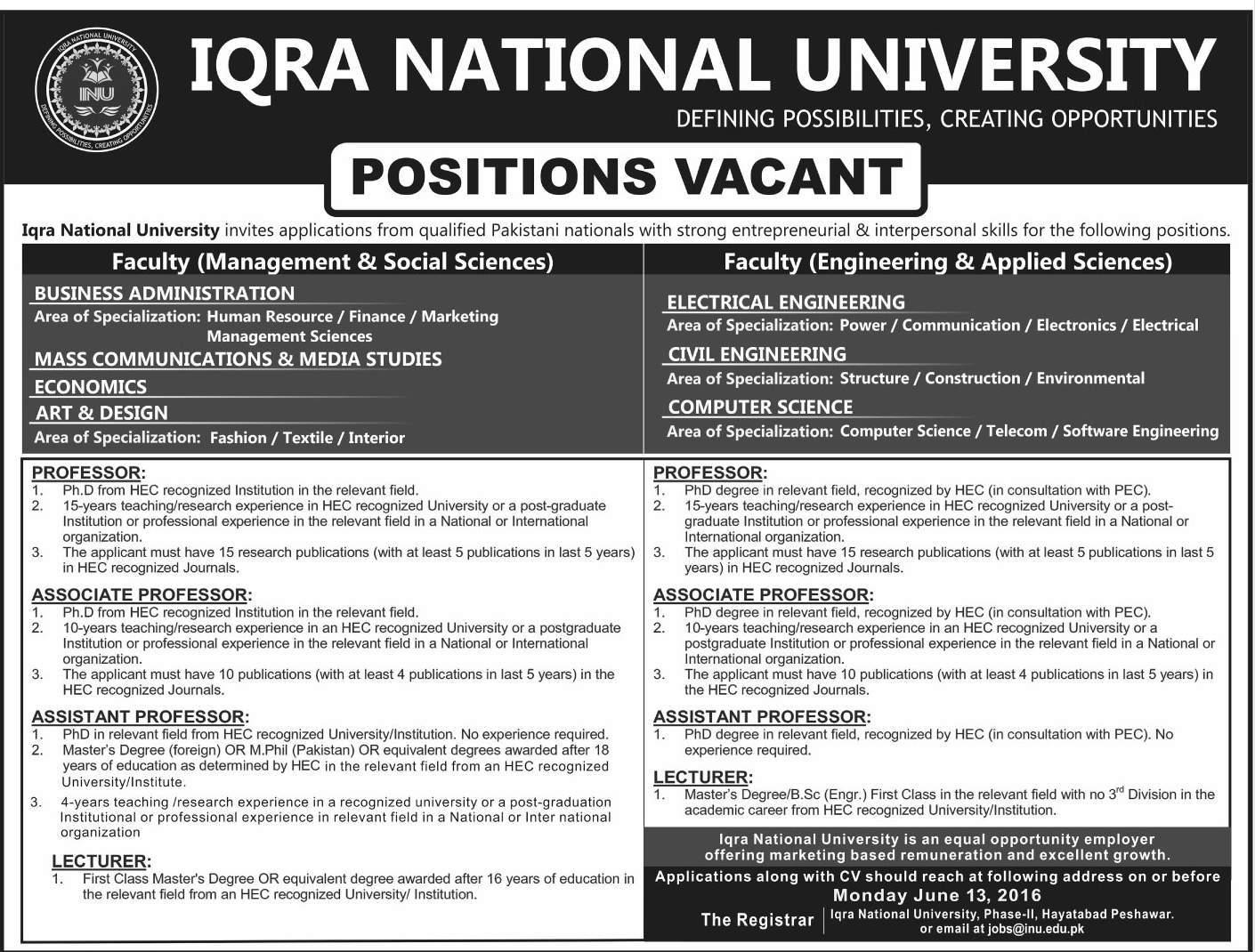 IQRA National University Peshawar Campus Jobs