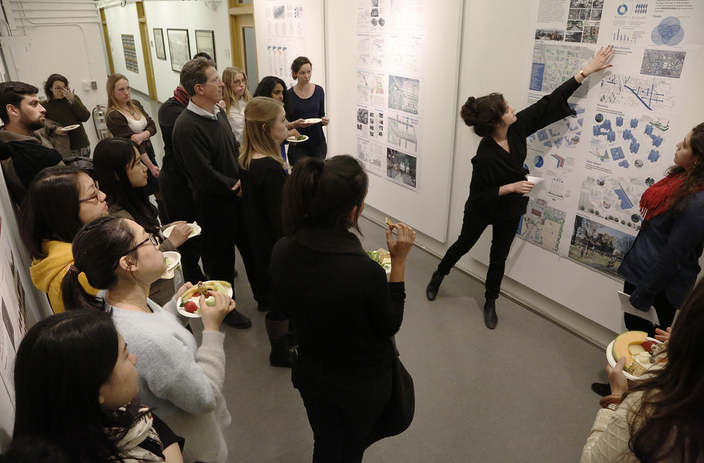 AAP NYC fall 2015 M.R.P./M.L.A. summary presentations in 101 West Sibley Hall and West Sibley Exhibition hallway.