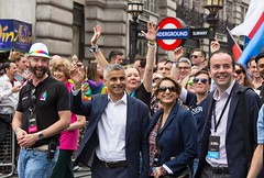 Sadiq Khan, Mayor of London, at head of Pride Parade, 25 June 2016