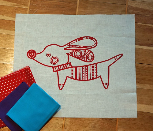 Red-dog-cushion-fabric