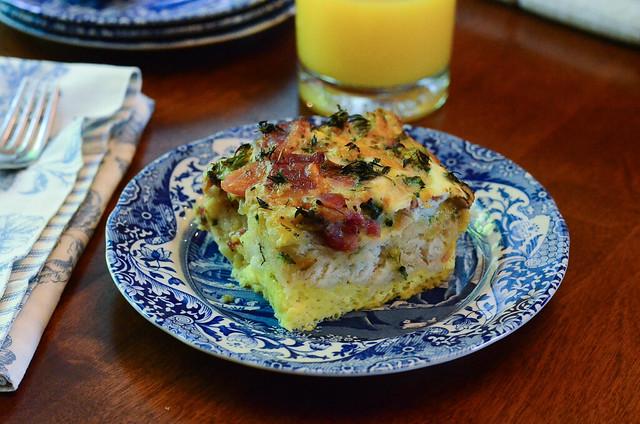 A slice of Easy Broccoli Bacon Breakfast Bake.