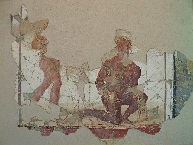 Fresco from the luxurious latrine of the Baths of the Wrestlers depicting nude athletes, 3rd century AD, Saint-Romain-En-Gal