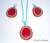 TURQUOISE RED beaded Tagua nut necklace & earring jewelry set