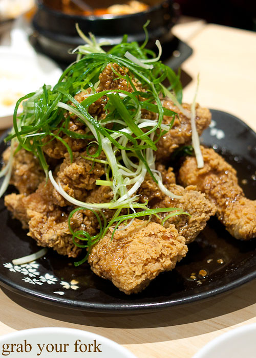 spring onion korean fried chicken at red pepper, strathfield sports club bistro
