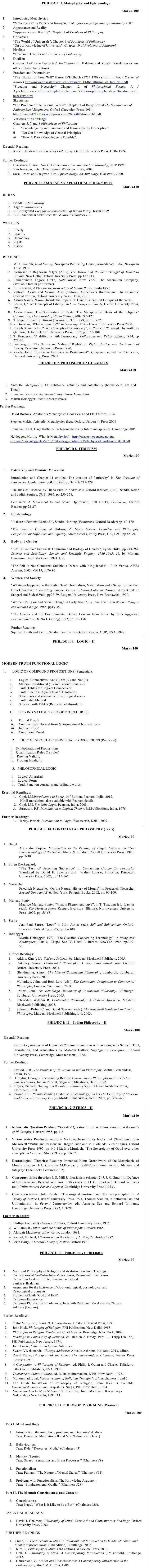 DU DC I, DC II and Applied Course Syllabus - Philosophy