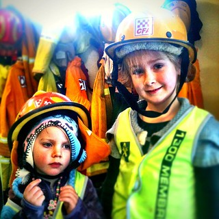 The Smalls got a tour of the local fire station yesterday thanks to @ninevah - they had a ball - but you can tell who got a fever before the day was out. #cfa #2yo #5yo  #hastings #sundaymorning