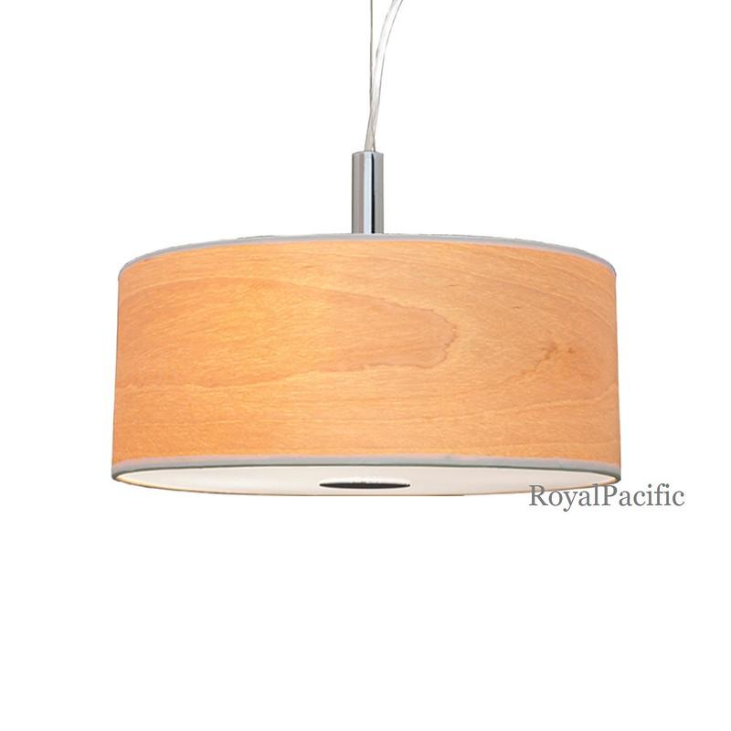 4 lamp 22 round grain wood veneer shade chandelier