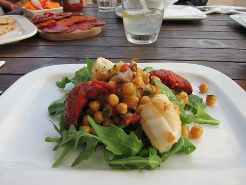 al fresco dining - squid chickpea chorizo