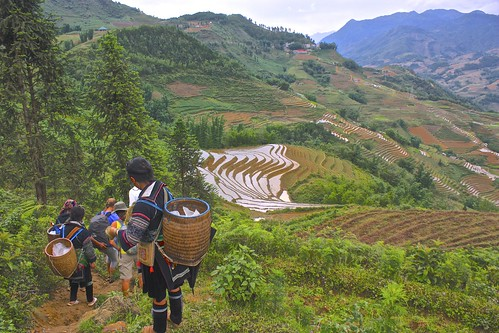 slowly making our descent through the rice terraces
