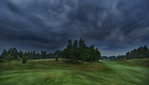 morning trees summer sky storm tree green nature grass rain sport clouds forest sunrise dark golf early woods sweden outdoor hill august hobby course golfing golfcourse angry interest thunder tranquil hdr a77 ladnscape 2013 östergötlandcounty