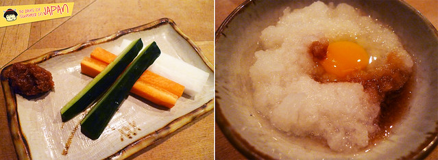 Tori Tama - veggies, daikon and raw egg
