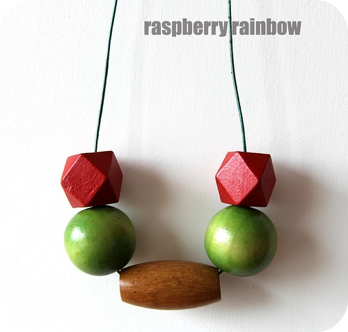 Raspberry Rainbow Beaded necklace 2