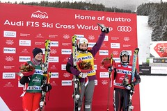 Marielle Thompson stands atop the podium in Nakiska, CAN