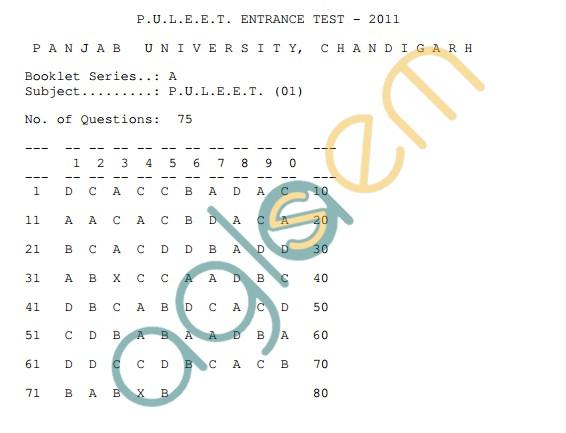 PU LEET 2011 Question Paepr Answer Key